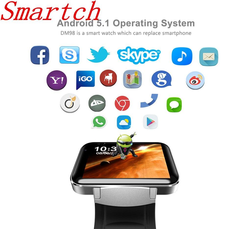 Smartch DM98 Bluetooth font b Smart b font Watch Android 4 4 3G Smartwatch Phone MTK6572