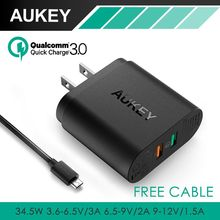 AUKEY For Qualcomm Quick Charger 3.0 Tech 34.5W 9V 12V 2 Ports USB Quick Charger for Samsung S7 Edge Note5 LG G5 Nexus 6 iPhone