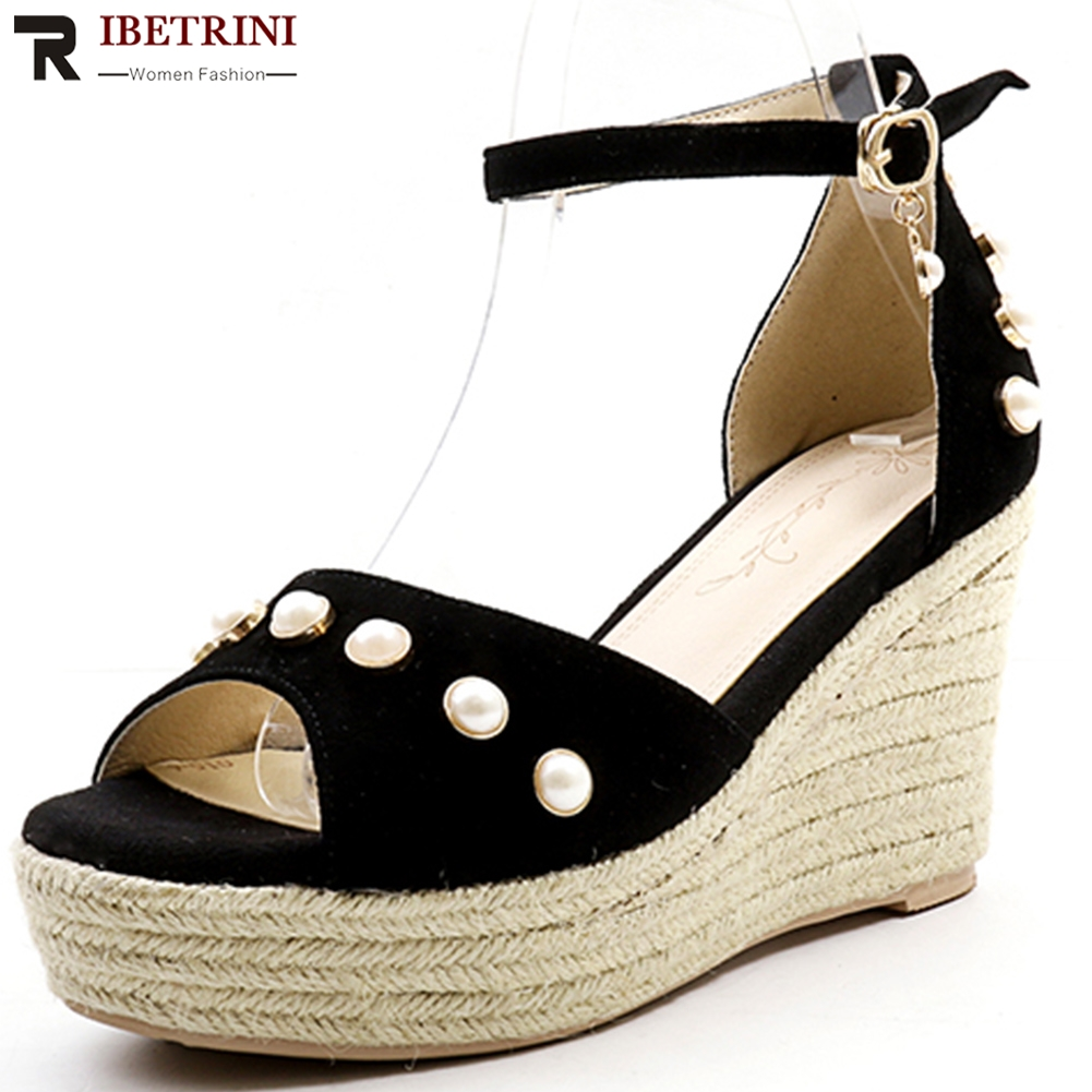 RIBETRINI Woman Shoes Sandals Buckle Wedge High-Heels Hot-Sale Peep-Toe New-Arrivals