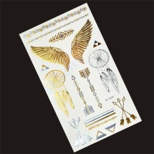Tattoos Angel Wings Gold Flash Tattoo Silver Metallic Temporary Tattoos Metal Body Art Flash Golden Tattoo Stickers