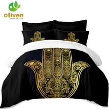 Golden Hamsa hand Bedding Set Bohemia Palm Print Duvet Cover Set Tribal Bedclothes India Style Bedding Pillowcase Home Decor A45 dhanedhar manisha narwade sunil tribal malnutrition in india