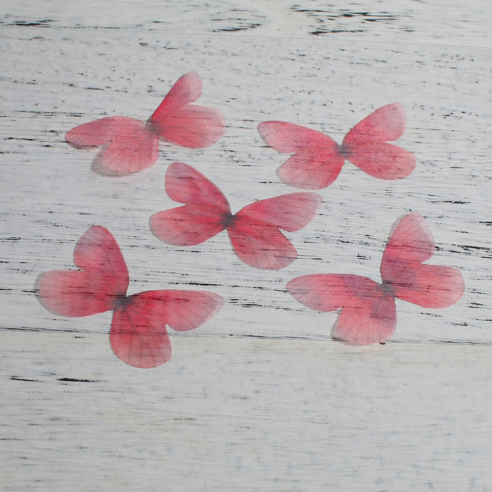 8SEASONS Organza DIY & Craft Ethereal Colorful Butterfly Animal Handmade Jewelry Accessories 5cm x3cm - 5x4cm, 5 PCs