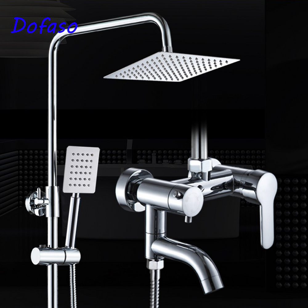Dofaso stainless steel shower faucet with big rain bath shower set head square 8'' head shower