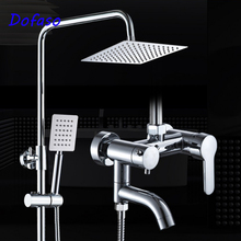 Dofaso stainless steel shower faucet with big rain bath shower set head square 8'' head shower black color paint bathroom shower set 304 stainless steel material bath faucet with handheld shower head under water outlet