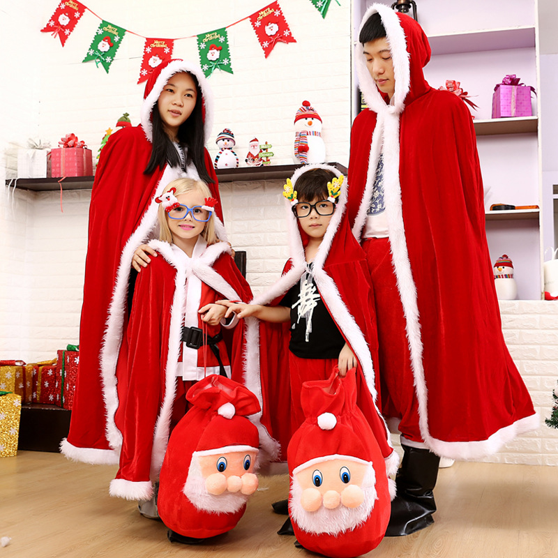 New Arrival  Adult and kids  Costume Suit Christmas Costumes Christmas Put on Christmas clothes with the children