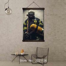 Firefighter Man Framed Scroll Painting HD Wall Art Hanging Canvas Printed Pictures for Living Room Decoration