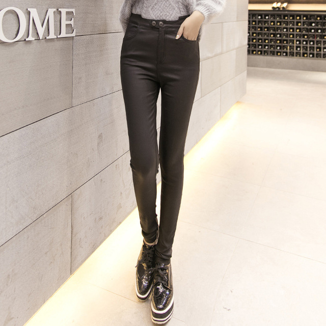 Women Leggings Cotton Fitness Rushed Solid Low Leggins 2016 New Lycra Imitation Leather Pants Female Pu Coated Long Women's