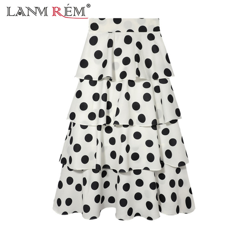 LANMREM 2018 New Summer Fashion Tide Beige Polka Dot Print Patchwork Cascading Ruffles Elastic Waist Woman Skirt SA775