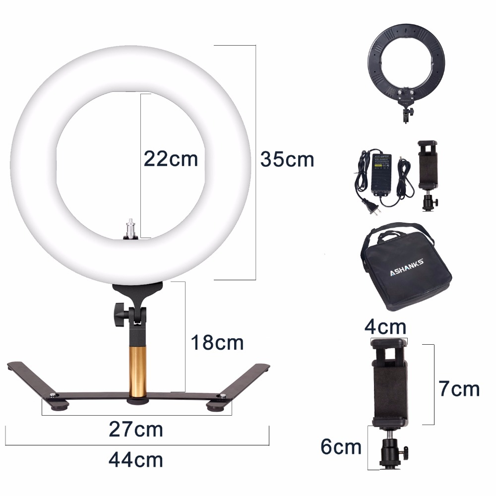14'' 40W Stepless Dimmer Photo Studio Photography Tabletop Makeup Ring Light For Phone Video Live LED Lamp