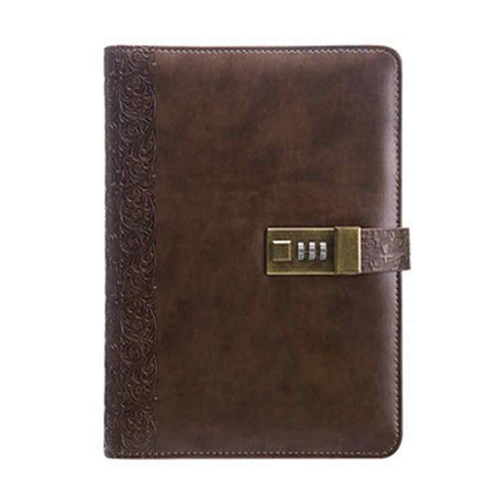 Vintage Leather Spiral A5 Diary Notebook with Lock Journal Lined Pages Personal Note Book School Supplies D40