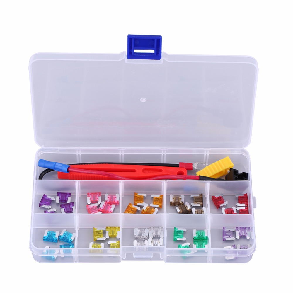 40pcs 3A-35A Assortment Micro Mini Blade Fuse Set Kit for Car Auto Truck SUV Motorcycle Car Blade Fuse