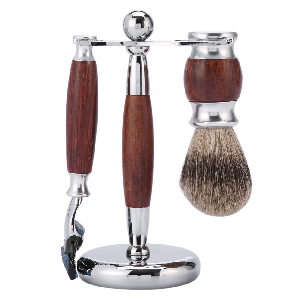 Men Shaving Kit Hair Removal Cleaning Shaving Brush + Shaver Razor Holder Stand + Wood Handle Razor Shaving Brush Set For Man 1