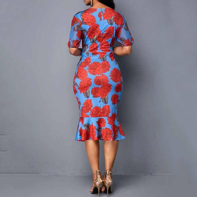 קיץ אלגנטי סקסי 2019 בציר אפריקאי בתוספת גודל נשים Midi שמלת קפלים מסיבת רטרו גבירותיי פרחוני V צוואר שיק שמלה גדול גודל