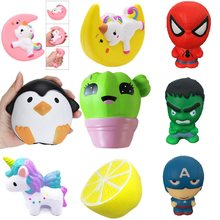 New Unicorn abóbora Spiderman Aumento Lento Lento Subindo Brinquedos Do Miúdo Animal Mole Jumbo Squishies Cinta Do Telefone Perfumado Pão Bolo Brinquedo(China)