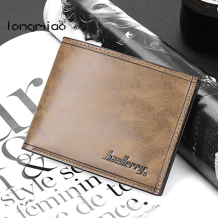 longmiao 2017 Men Leather Brand Luxury Wallet Vintage Minimalist Short Slim Male Purses Money Clip Credit Card Dollar Price