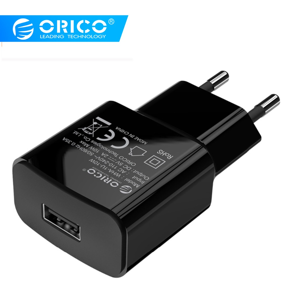 ORICO 5V1A 5V2A USB Charger Travel Wall Charger Adapter 5W 10W Portable Smart Mobile Phone Charger EU Plug Black White Available Зарядное устройство