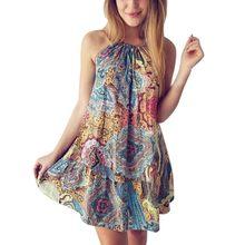 520776f661c New Arrival Summer Women Casual Mini Dress Bohemian Ocean Wind Print Beach Dress  Female Floral Fashional Slim Sexy Women  Gown