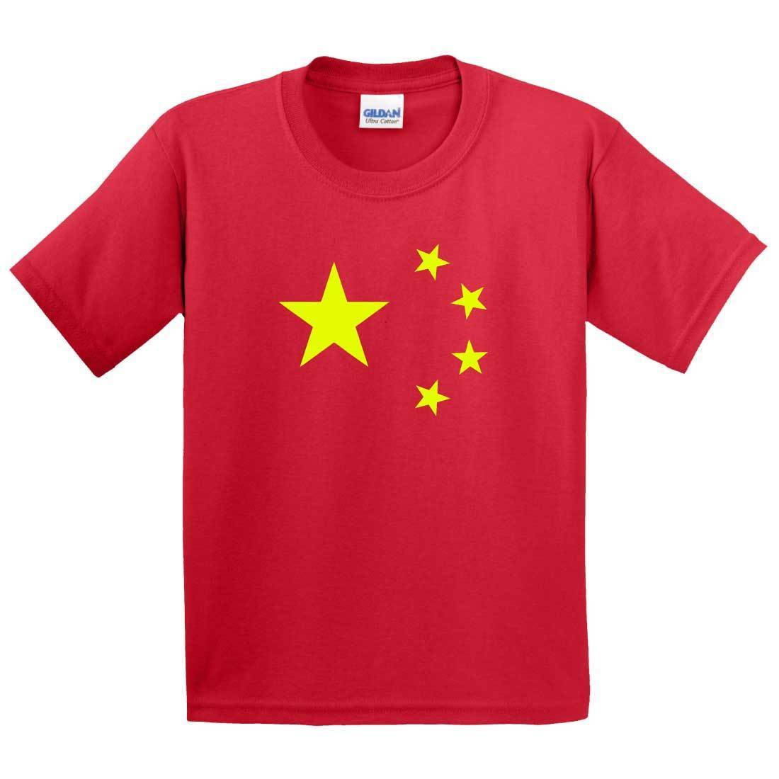 China T Shirt - Red With Yellow Stars - As On The Chinese Flag - Adult Childrens