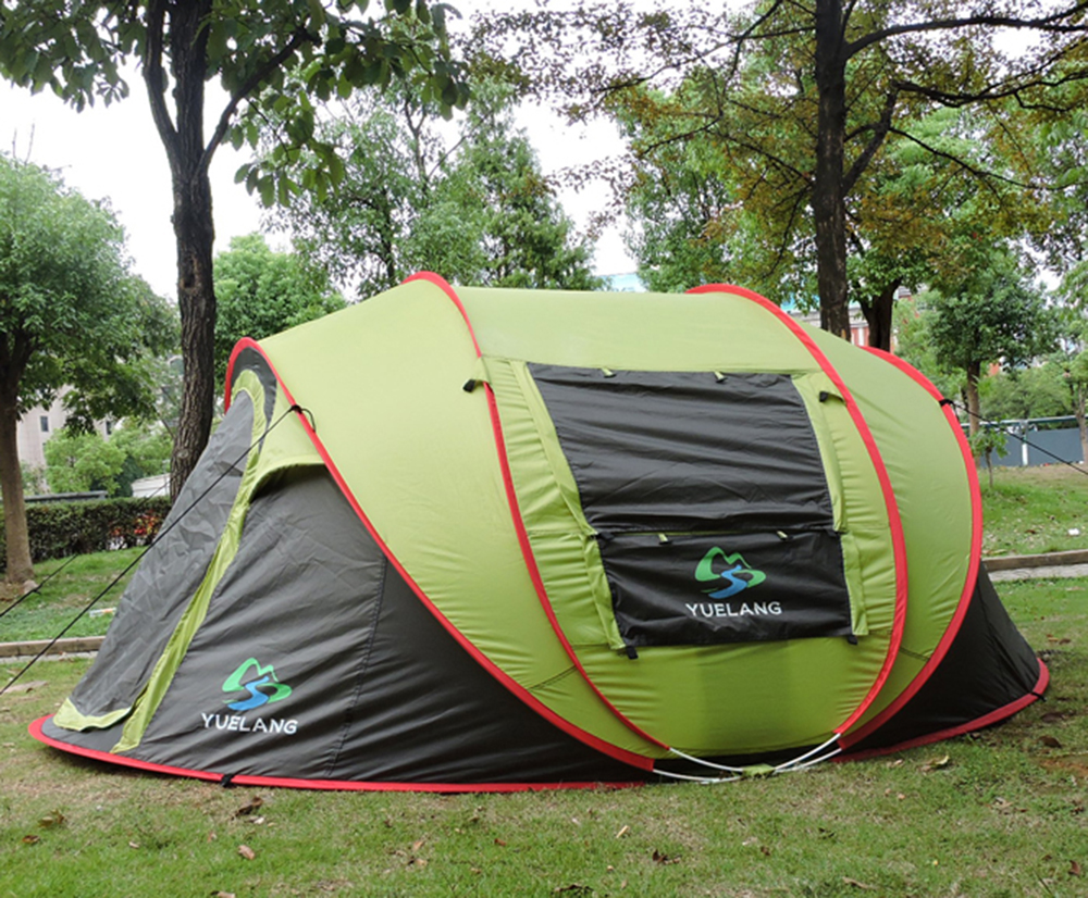 Automatic 4-5 Person Use Pop Up Ultralarge Single Layer Camping Tent Sun Shelter Gazebo Barraca With Mosquito Net otomatik çadır