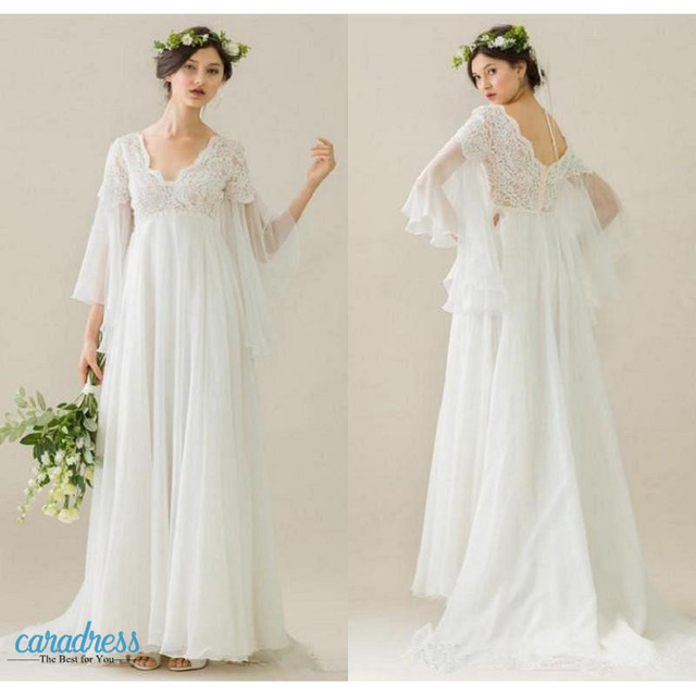 Elegant Boho Maternity Wedding Dresses 2017 V Neck Long Sleeves Lace ...