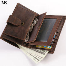 MS Multi-Card Men Crazy Horse Leather Casual Credit Card Case ID Cash Photo Holder Organizer Wallet Trifold Hasp Wallet Q314