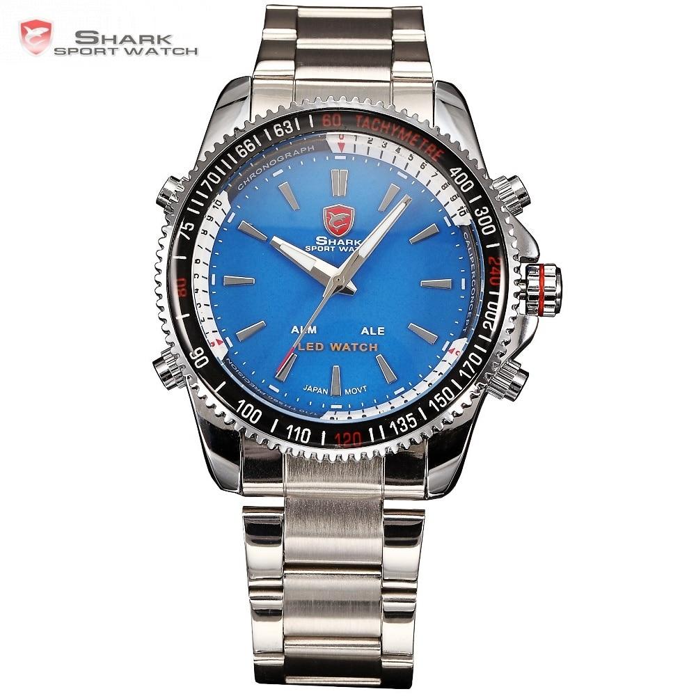 Relógio do esporte de Mako shark led analógico duplo tempo alarme azul prata Cinta de Aço hombre Homens relógio de Pulso Quartzo /SH002