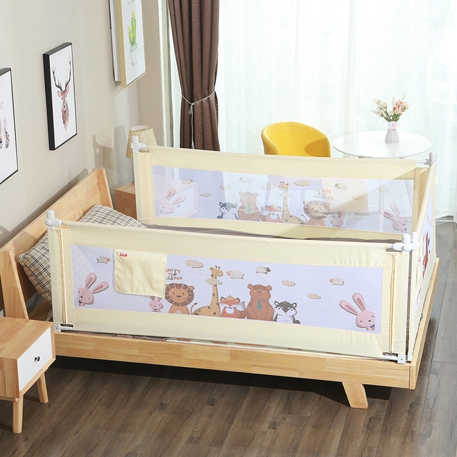 2M 1piece  Newborn Baby Safety Bed Guardrail Crib Rails Baby Fence Guard Adjustable Cartoon Bed Rail Infant Bed Pocket Playpen