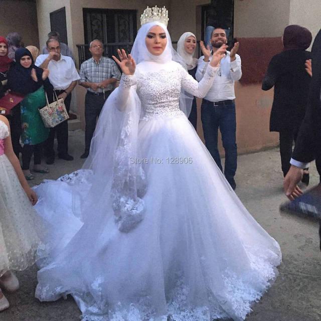 2017 Muslim Brautkleider mit Hijab Modest High Neck Volle ärmeln Maß ...