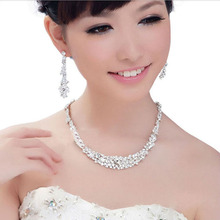 TREAZY Tassel Crystal Bridal Wedding Jewelry Sets for Women Silver Color Choker Necklace Earrings Set Wedding Party Jewelry