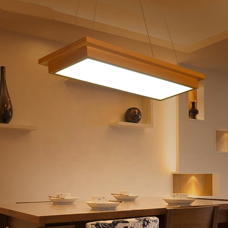 Wooden led pendant lights wood Restaurant living room dinner room personalized creative solid wood lighting log lamp ZA