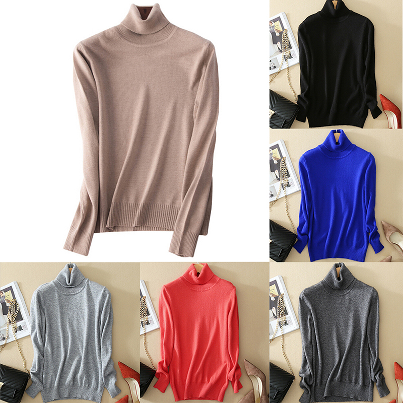 Female Sexy 9 Colors Soft Cashmere Sweater Turtleneck Plus Size S-XXXL Knitted Winter Sweater Warm Solid Color Sweater For Women