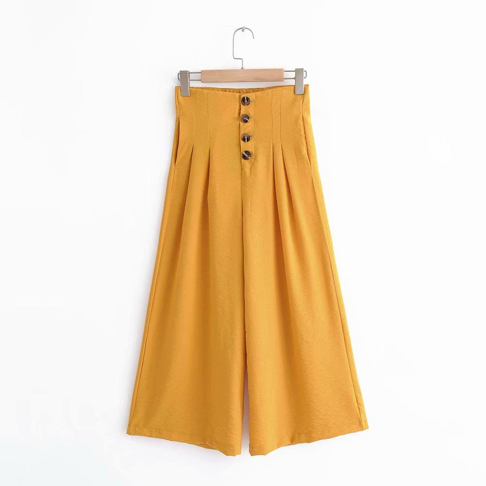 Women vintage solid color buttons decoration   wide     leg     pants   chic linen ankle lenght Trousers pantalones mujer retro   pants   P332