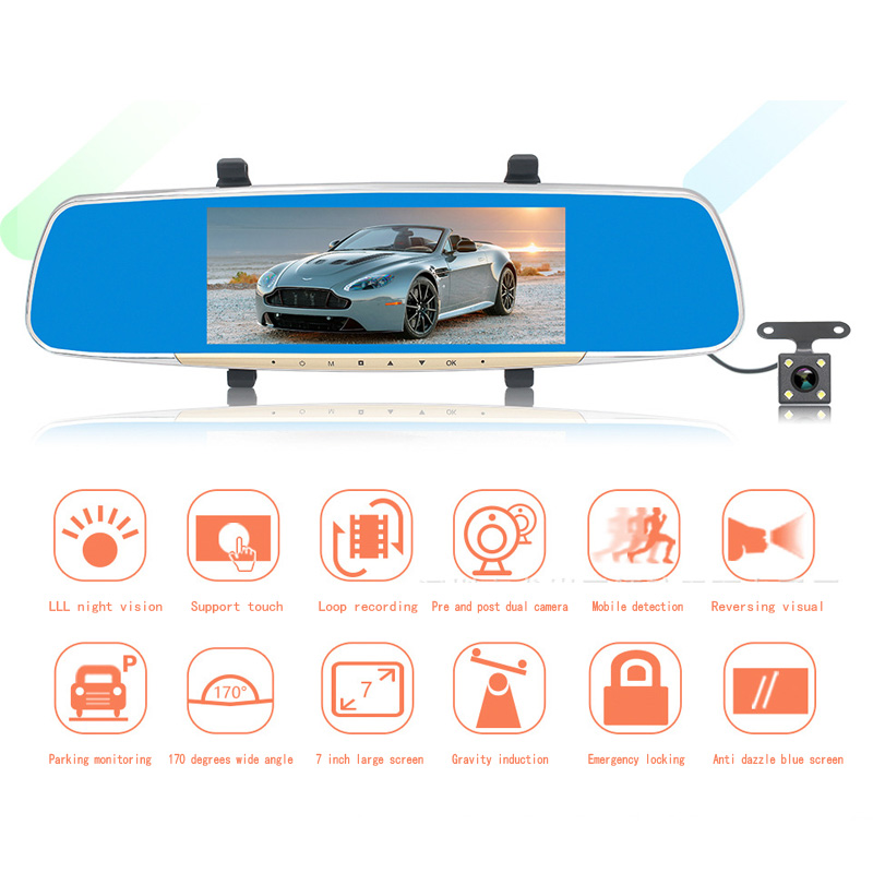Car Detector Dash Cam Hd 7 Inch Rearview Mirror Recorder Front And Rear Dual Lens Vehicle Night For Vision Wide-angle Dvr relaxgo 5android rearview mirror car camera gps navigation wifi car video recorder dual lens 1080p vehicle dvr parking dash cam