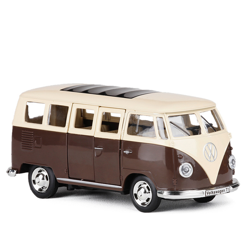 1/30 T1 BUS Toy Vehicles Model Alloy Pull Back Children Toys Genuine License Collection Gift racing bik Acousto-Optic Car Kids