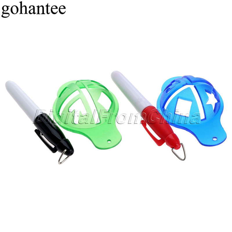 Gohantee Golf Ball Liner Marker Pen Ball Strokes Golf Training Aids Waterproof Quick Dry Pen + Liner Marker Cap Aksesoris Golf