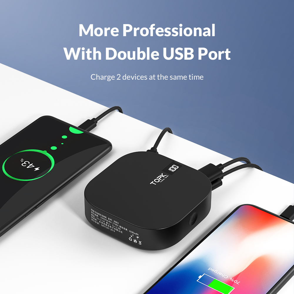 Image 2 - TOPK Mini Power Bank 10000mah Portable Charger Powerbank USB Type C External Battery Charger Poverbank for iPhone Xiaomi Huawei-in Power Bank from Cellphones & Telecommunications