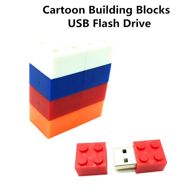 pendrive cartoon building blocks usb 2.0 usb flash drive silicone pen drive 4gb 8gb 16gb ...