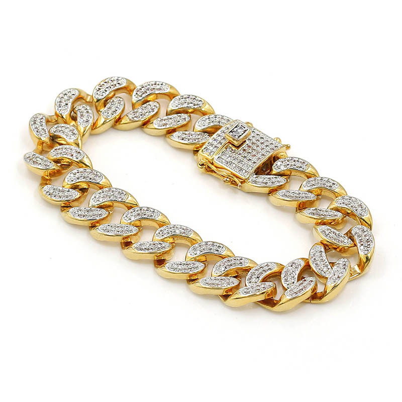 Men Zircon Curb Cuban Link Bracelet Hip hop Jewelry Gold Silver Thick Heavy Copper Material Iced Out CZ Chain Bracelet 8mm 10mm 12mm 14mm stainless steel miami curb cuban bracelet mens hip hop thick gold filled cuban link heavy bracelet 23cm
