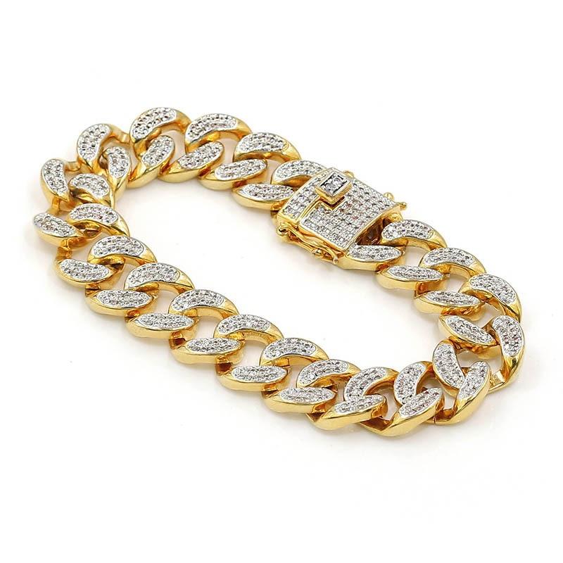 Hommes Zircon gourmette cubain lien Bracelet Hip hop bijoux or argent épais lourd cuivre matériel glacé CZ chaîne Bracelet