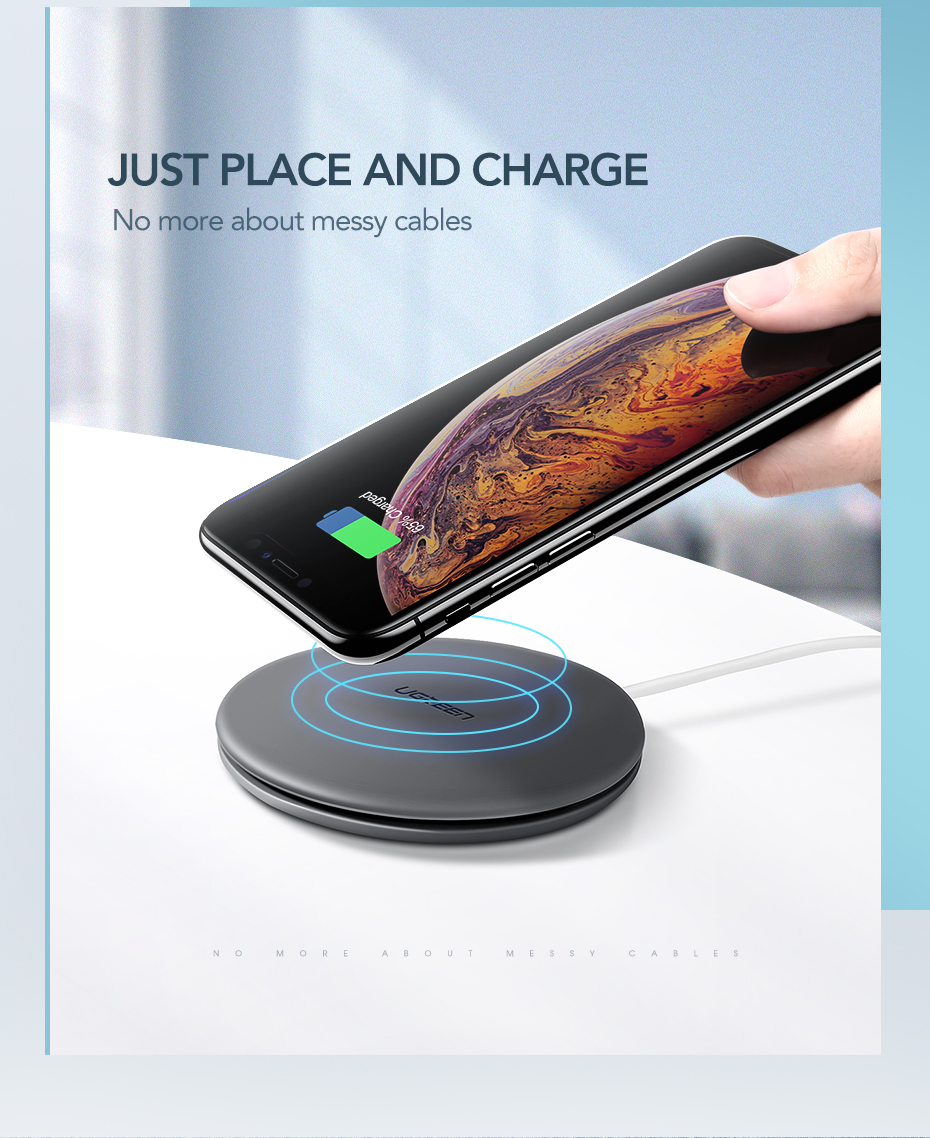 Ugreen Wireless Charger 10W 7.5W Qi Wireless Charging for xiaomi mi 9 iPhone X XS 8 XR Samsung S9 S8 Fast Phone Wireless Charger 3