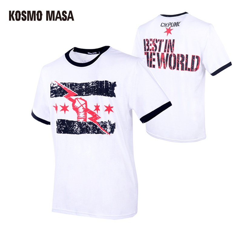 KOSMO MASA 2017 Wrestling CM Punk Best In The World Men's T-Shirt Cena Dean Ambrose Tee Many Styles Hip Hop Short Shirt MC0184