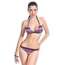 Sexy Crop Halter Bikini Set Women Swimsuit Ethnic Print Slim Swimwear Low Waist Triangle Brazilian Girls Two Piece Bathing Suit