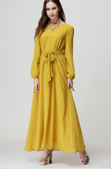 b05106a939e Free Shipping Muslim Style Plus Size Pure Color Round Collar Chiffon Pure  Color Long Dress With Belt