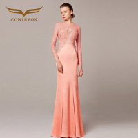 Coniefox 31096 Fashionable Beads Wedding Party Dress Formal Evening Gowns 3/4 Sleeves 2016 Mother of Bride Dress