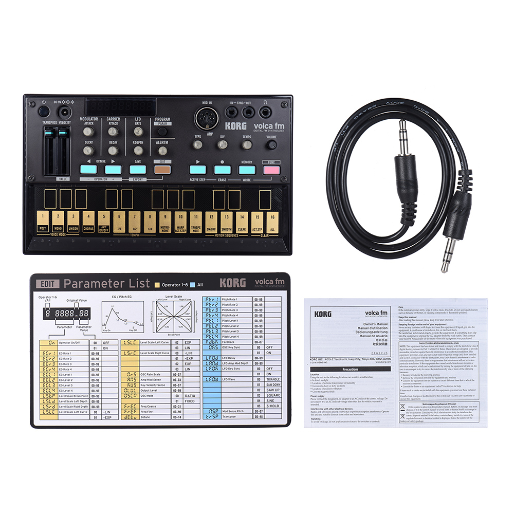 Volca KORG Sintetizador fm FM Digital Portátil com MIDI Em 3 5mm Sync  In/Out Headphone Jacks