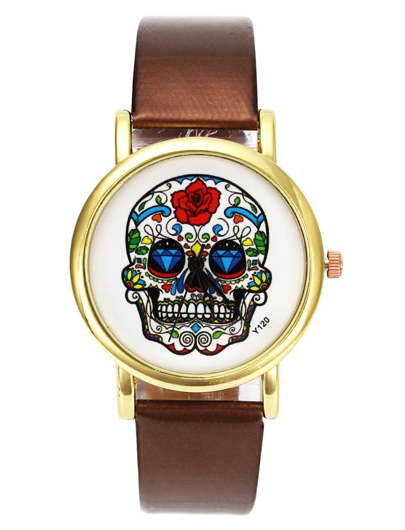 Գանգի վարդի ծաղկի կմախք Կանանց Տղամարդկանց նորաձևության ստեղծագործական ժամացույցներ պարզ PU կաշվե ժամացույցներ Reloj Mujer Montre Homme Ձեռքի ժամացույց