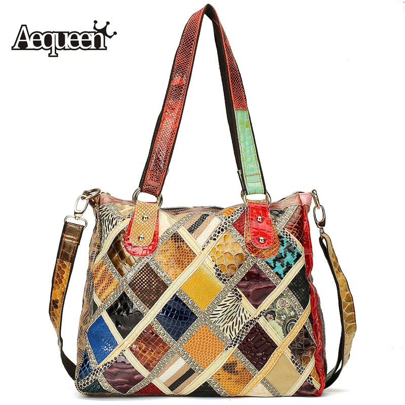 AEQUEEN Genuine Leather Handbags Women Patchwork Diamond Lattice Tote Crossbody Bag Ladies Shoulder Bags Random Color