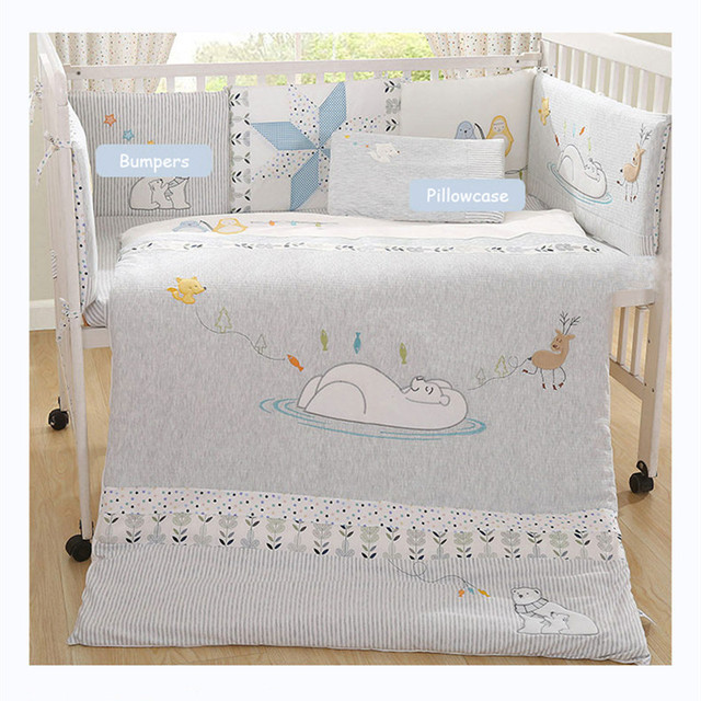 Cotton + knitted Baby Bumper Bedding Sets Collision Proof Newborn Crib Bumpers Soft Breathable Cot Bed Sheet Pillow Quilt Unisex