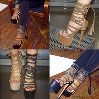 hot selling open toe cut outs strappy high platform sandal shoes woman fashion tassels ankle lace up higih heel sandals