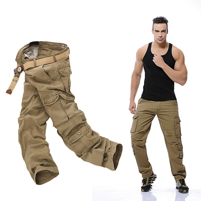 2017New Mens Cargo Pants army green black big pockets decoration Casual easy wash trousers male spring &autumn pants size 28-46